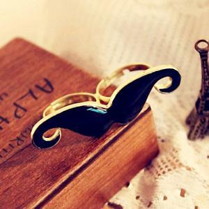 Moustache Ring, Elegant Blue Adjust..